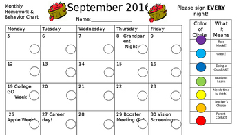 EDITABLE Monthly Homework & Clip Chart Keeper