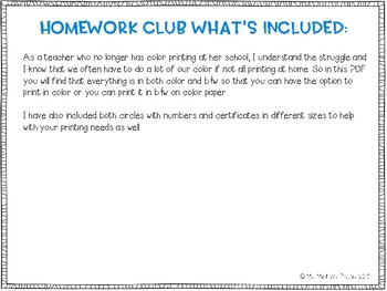 Monthly Homework Club Instructions