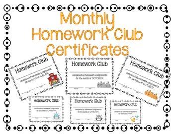 Homework Club Awards/Certificates