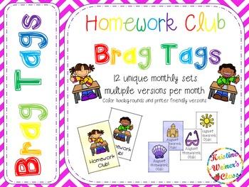 BRAG TAGS: Monthly Homework Club {Behavior Incentive}