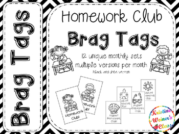 BRAG TAGS: Monthly Homework Club--Black and White Version