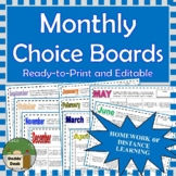 Monthly Homework   Distance Learning Choice Boards All Sub