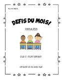 Monthly Homework French Immersion Grade 1/2