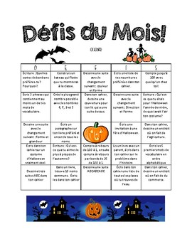 Monthly Homework French Immersion Grade 2/3
