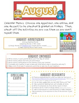 Monthly Homework Menus & Calendars for ELA