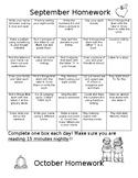 Monthly Homework Menus (Sep to May)