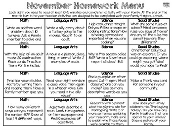 Monthly Homework Menus for First Grade