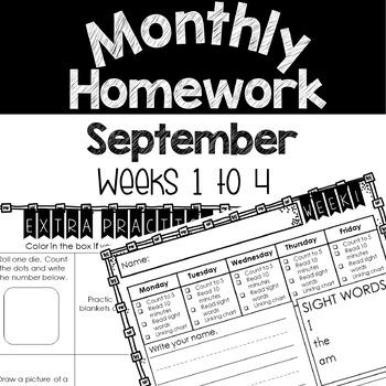 Monthly Homework Pages (September) Weeks 1-4
