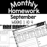 Monthly Homework Pages (September) Weeks 1-4