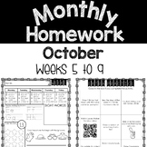 Monthly Homework Pages (October) Weeks 5-9