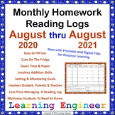 Monthly Reading Logs with Reading Record for Homework Read