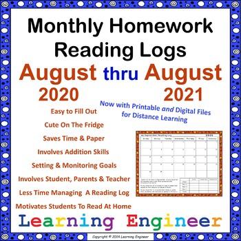 Monthly Reading Logs, Homework Reading Logs, Reading Goals
