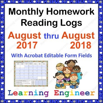Monthly Homework Reading Logs - Editable