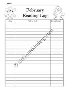 Monthly Homework and Reading Logs Kindergarten