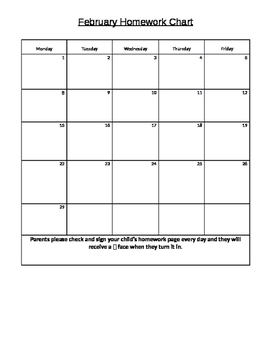 Monthly Homework and behavior chart