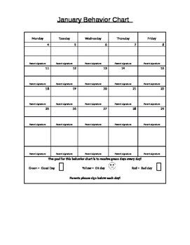 Monthly Homework and behavior chart