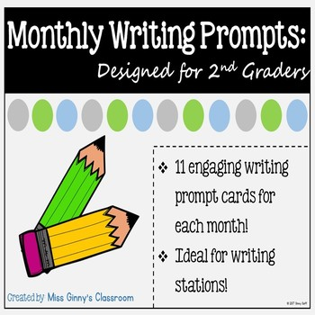 Monthly Journal Prompt Cards for the Year 2nd Grade