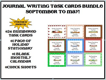 Monthly Journal Writing Task Cards BUNDLE Sept.-May