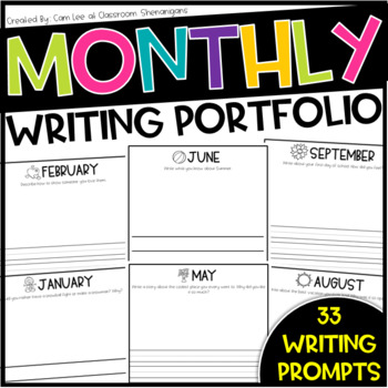 Elementary Monthly Journal Writing Portfolio for Grades K-2