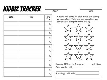 Monthly KidBiz Tracker