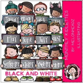 Monthly Kidlettes clip art - BLACK AND WHITE- by Melonheadz