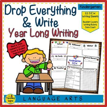 Kindergarten Year Long D.E.W. (Drop Everything & Write), Rubrics & Data Charts
