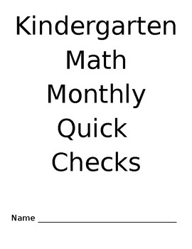 Monthly Kindergarten Math Quick Checks