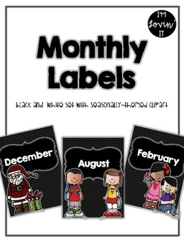 Black and White Monthly Labels - Seasonally Themed