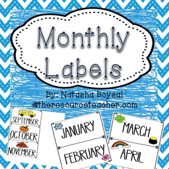 Monthly Labels {for storing centers and activities}