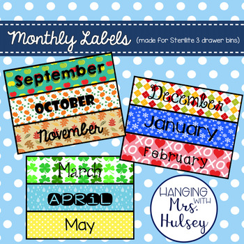 Monthly Labels (made for Sterilite 3-drawer bins)
