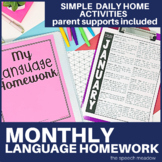 Monthly Language Homework | Distance Learning |