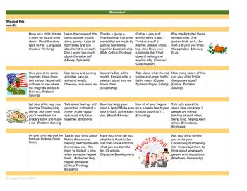 Monthly Learning Activity Calendar - November
