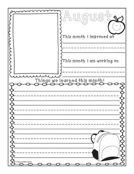 Writing - Monthly Learning Journals - Grades K-2