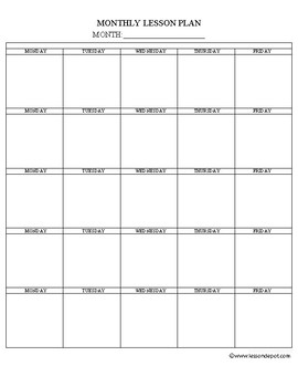 monthly lesson plan template by have fun teaching tpt
