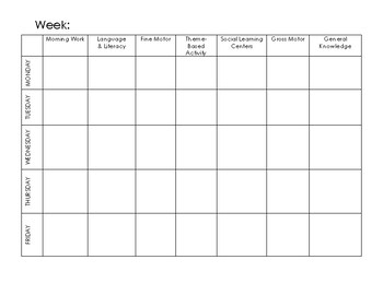 Monthly Lesson Plan Template (Half Day Program)