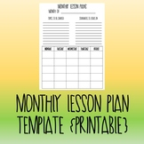 Monthly Lesson Plan Update {Printable}