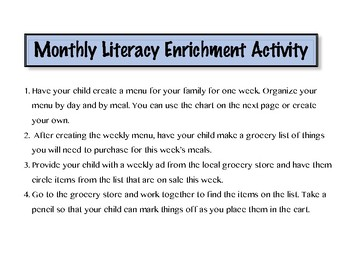 Monthly Literacy Enrichment Activity