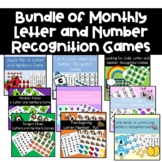 Monthly Literacy or Math Center Games Letter and Number Re