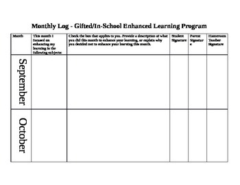 Monthly Log - Gifted or Enhanced Learning Program