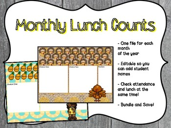 Monthly Lunch Counts Bundle