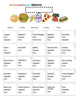 Monthly Lunch Menu