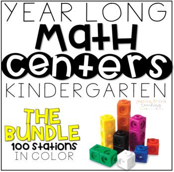 Monthly MATH for Kindergarten COMPLETE BUNDLE *{100 stations}*