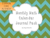 Monthly Math Calendar Journal Pack Common Core Aligned 2nd Grade
