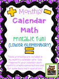 Monthly Math Calendar Printables for Lower Elementary Students!