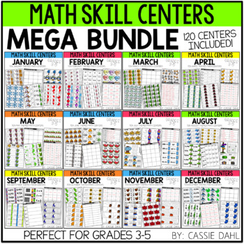 Monthly Math Centers (Growing Bundle - 120 Centers) Grades 3-5