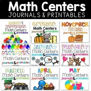First Grade Monthly Math Centers, Journals, and Printables Bundle