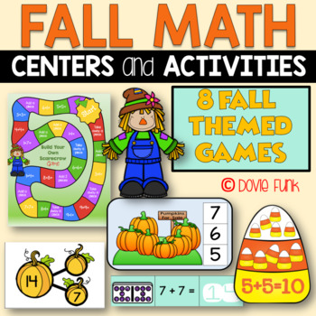 Fall Math Centers - First Grade 8 Games - Easy Prep October and November