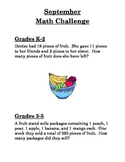 Monthly Math Challenges (Word Problems) for K-2 and 3-5