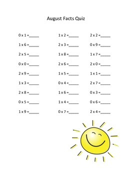 Math Facts Quizzes - Multiplication and Division