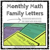 Monthly Math Family Letters - Differentiated Activities for Special Education